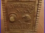 Antique Cast Iron Libertas Eagle Still Combination Coin Toy Bank Safe Mudd Mfg