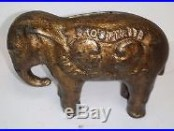 Antique Cast Iron McKinley/Teddy Elephant Bank Moore