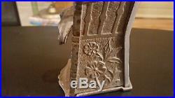Antique Cast Iron Mechanical Bank J. E. Stevens Educated Pig in High Chair 1897
