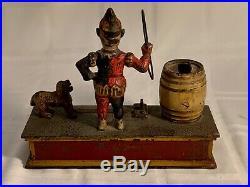 Antique Cast Iron Mechanical Bank Trick Dog Hubley Pat. 1888