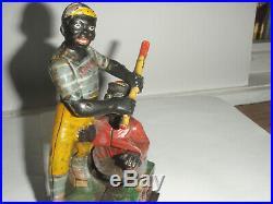 Antique Cast Iron Mechanical Baseball Bank Darktown Battery J&E Steven