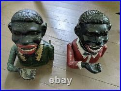 Antique Cast Iron Mechanical Coin Banks Jolly Black Americana