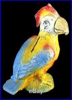 Antique Cast Iron Metal Figural Piggy Still Bank Bright Color Parrot Bird 5