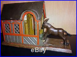 Antique Cast Iron Mule in The Barn Mechanical Bank By J&E Stevens ca. 1880