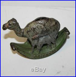 Antique Cast Iron Oriental Mother Camel with Baby Camel Penny Coin Bank