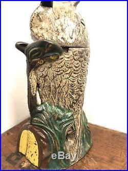 Antique Cast Iron Owl Turns Head Mechanical Bank by J & E Stevens Cir. 1881