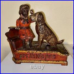 Antique Cast Iron Speaking Dog Mechanical Bank All Original Paint 1885