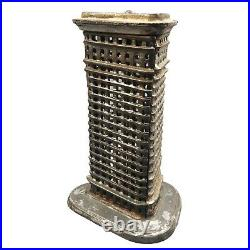 Antique Cast Iron Still Bank Flatiron Building NYC Architecture Piggy Coin Bank