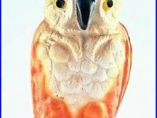 Antique Cast Iron Still Bank Owl Vindex Toys with Rare Illustr Poem Sticker 1930