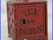 Antique Cast Iron Still Penny Bank THE DAISY red Shimer Toy Co #867 Moore
