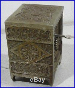 Antique Cast Iron TREASURE SAFE #45 J&E STEVENS still coin bank Safe, 1897