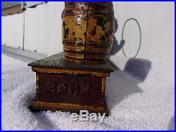 Antique Cast Iron TRICK DOG Mechanical BANK, Hubley, 1888, 6-Part Base, CLEAN