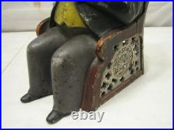 Antique Cast Iron Tammany Mechanical Bank Man in Chair 1873 Patent Dime