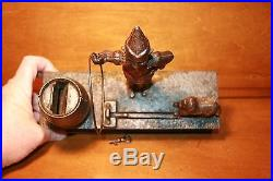 Antique Cast Iron Trick Dog 6 Part Base Mechanical Bank by Hubley c. 1888 with Key