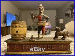 Antique Cast Iron Trick Dog 6 Part base Hubley 1888 Mechanical Bank
