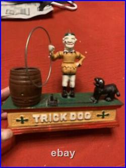 Antique Cast Iron Trick Dog Circus Clown Mechanical Coin Bank Working