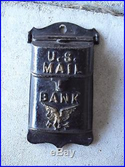 Antique Cast Iron US Mail Wall Hanging Bank 5 1/8 Tall LOOK