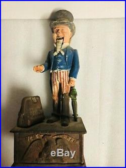 Antique Cast Iron Uncle Sam Mechanical Bank Shepard Hardware Patent June 8 1886