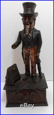 Antique Cast Iron Uncle Sam Mechanical Bank by Shepard Hardware cir. 1886