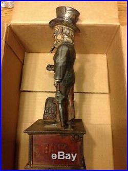 Antique Cast Iron Uncle Sam Shepard Hardware Mechanial Bank 1886