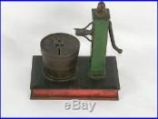 Antique Circa 1892 Cast Iron Mechanical Dime Register Water Pump & Bucket Bank