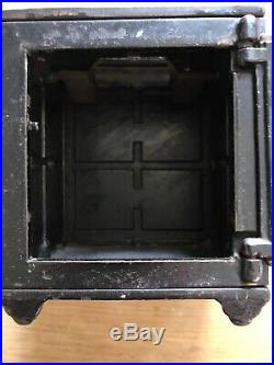 Antique Collectable Henry C Hart CO Safe Deposit Coin Bank Cast Iron Piggy Bank