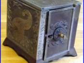 Antique E. M. ROCHE Cast Iron Cornucopia Combination SAFE BANK (Newark NJ)