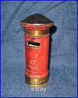 Antique English Post Office Mail Box Coin Bank cast iron and Brass circa 1890's