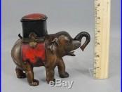 Antique Enterprise Elephant Howdah Polychrome Painted Cast Iron Mechanical Bank