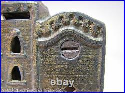 Antique Figural Cast Iron Double Building Still Bank original old gold paint