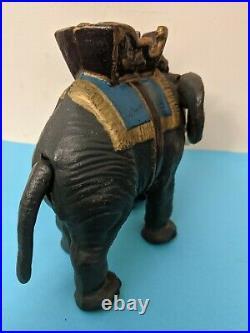 Antique HUBLEY Cast Iron ELEPHANT HOWDAH Mechanical Bank Painted