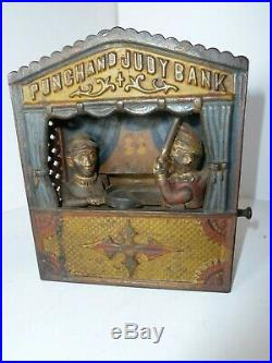 Antique Heavy Cast Iron Punch And Judy Mechanical Bank 1884