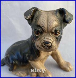 Antique Hubley Cast Iron Boston Terrier Puppy Dog Still Coin Bank Doorstop 826