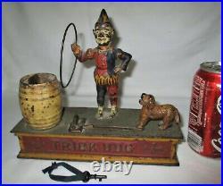 Antique Hubley Toy Us Clown USA Mechanical Cast Iron Trick Dog Bank Lock Key Keg