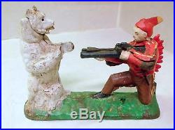 Antique Indian Shooting Bear Mechanical Bank Cast Iron
