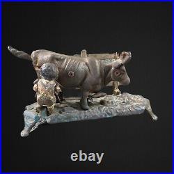 Antique Iron Cast Farmer Milking Cow Coin Bank Farming Boy 9W 5W