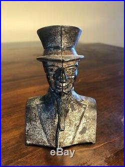 Antique Ives Blakeslee Cast Iron UNCLE SAM Bust Wagging Goatee Mechanical Bank