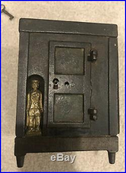 Antique JE Stevens Cast Iron Bank Metropolitan Safe Still Bank Cir 1872-With Key