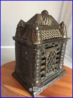 Antique J&E Stevens 4 Tower Cast Iron Bank