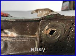 Antique J&E Stevens Bear Hunt Indian Cast Iron Mechanical Bank Still Works