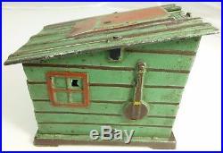 Antique J E Stevens Cast Iron Mechanical Bank Cabin Shack Black Americana 1880s