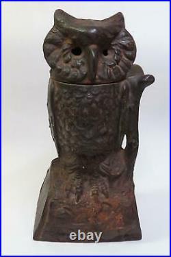 Antique J & E Stevens Cast Iron OWL Mechanical Bank Owl Turning Head