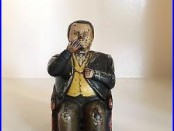 Antique J. E. Stevens Cast Iron Tammany Hall Mechanical Nodder Bank Patent 1873