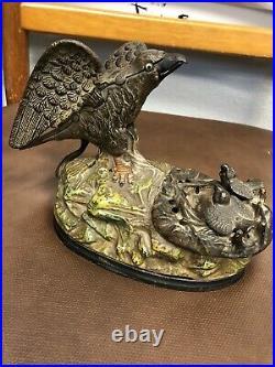 Antique J & E Stevens EAGLE & EAGLETS Cast Iron Mechanical Bank Toy 1883 NR