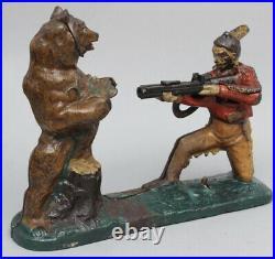 Antique J&E Stevens Indian Bear Hunt Original Cast Iron Mechanical Bank