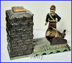 Antique J&E Stevens cast Iron Mechanical Artillery Bank Pat. May 31,1892