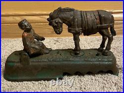 Antique J&e Stevens Always Did'spise A Mule Bench Cast Iron Mechanical Bank