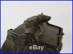 Antique J&e Stevens Cat And Mouse Mechanical Coin Bank Ornate Cast Iron Vintage