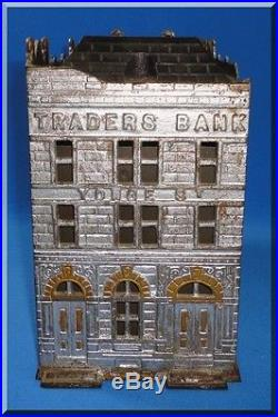 Antique Jarvis 1891 Traders Bank Of Canada Cast Iron Building Still Bank Insert