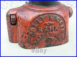 Antique Jolly Cast Iron Money Bank Pat Number Americana